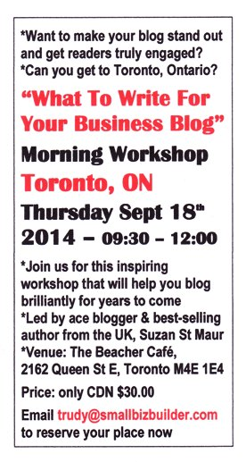 What to write for your business blog workshop in Toronto September 18th 2014