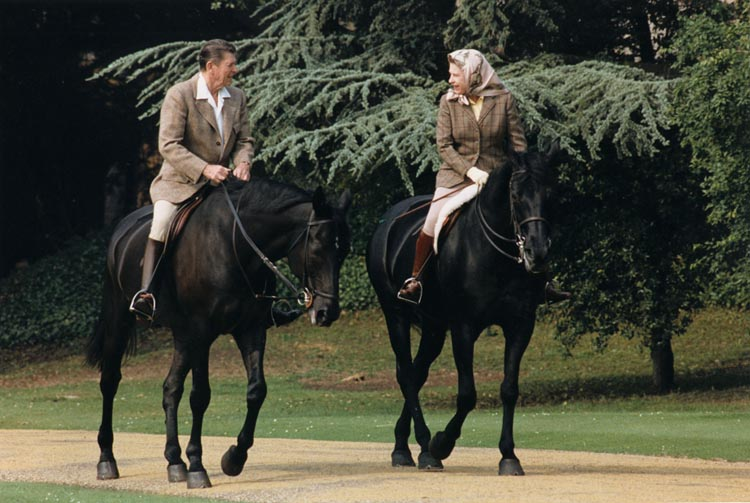 Queen and Reagan on horses