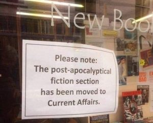 sign on bookstore window